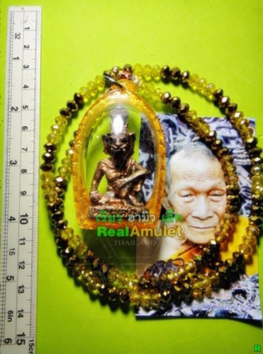 9347-REAL THAI AMULET LERSRI HERMIT TIGER FACE RICHLY LP KALONG COPPER RED FIRE