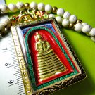 6086-THAI REAL AMULET SOMDEJ 108 MONK MASS BLESSED WAT NOK 9 SEAT GOLD RED PAINT