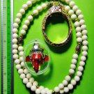 6093-THAI REAL AMULET PIKANET ELEPHANT HEAD LP PERN 24K GOLD PENDANT RED POWER