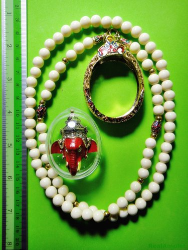 6093-THAI REAL AMULET PIKANET ELEPHANT HEAD LP PERN 24K GOLD PENDANT RED POWER