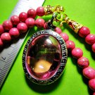 0463-REAL NATURAL GEM HOLY STONE DEEP RIVER NAGA EYE THAI AMULET LOVE CHARM PINK