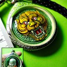 0699-ENAMEL PENDANT MEDAL THAI AMULET TIGER FACE REAL RICH LP PERN GREEN 1998 YR