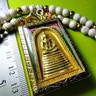 6478-HANDMADE THAI REAL AMULET SOMDEJ 108 MONKS BLESSING WAT NOK 9SEAT GOLD LEAF