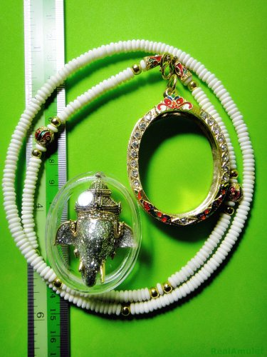 6092-THAI REAL AMULET PIKANET ELEPHANT HEAD LP PERN 24K GOLD PENDANT DIAMOND ASH