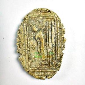 6624-OLD THAI AMULET ANCIENT MONK SOMDEJ WATRAKANG OVAL EDGE NON CUT RECLINING