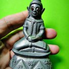 7334-THAI REAL AMULET STATUE NGUNG RED EYE GEM MONKEY CHARMING LP NAEN NEN GRAY