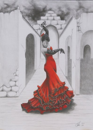 Flamenco Valentina original colored pencil drawing OOAK