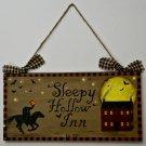 Sleepy Hollow Inn wooden sign - primitive folk art prim door hanger halloween original ooak