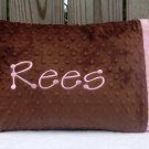 Brown ~ Pink Personalized Baby or Toddler Pillowcase