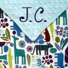 2D Zoo (Blue) Minky Baby Blanket Personalized