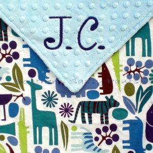 2D Zoo (Blue) Minky Baby Blanket Personalized