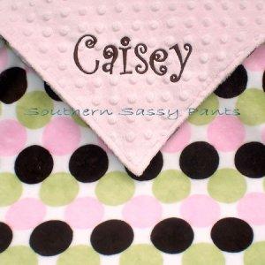 Retro Dot Minky Baby Blanket Personalized