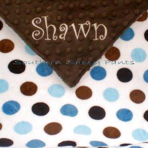 Multi-Dot Minky Baby Blanket Personalized