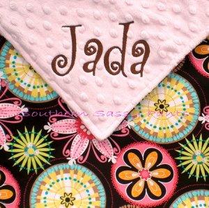 Carnival Bloom Minky Baby Blanket Personalized