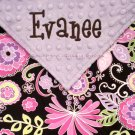 Lavender & Brown Boho Blossom Minky Baby Blanket PERSONALIZED