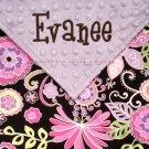 Lavender & Brown Boho Blossom Minky Baby Blanket PERSONALIZED