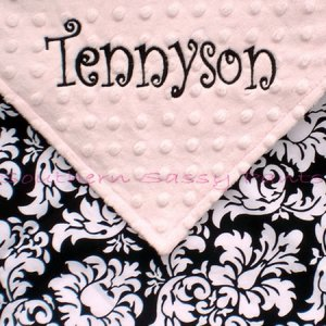 Dandy Damask Minky Baby Blanket PERSONALIZED