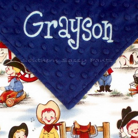 Personalized Baby Blanket, Baby Boy Cowboy Blanket, Little Cowpoke Cowboy Minky Baby Blanket