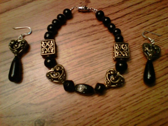 Handmade Black Box Jewelry Set