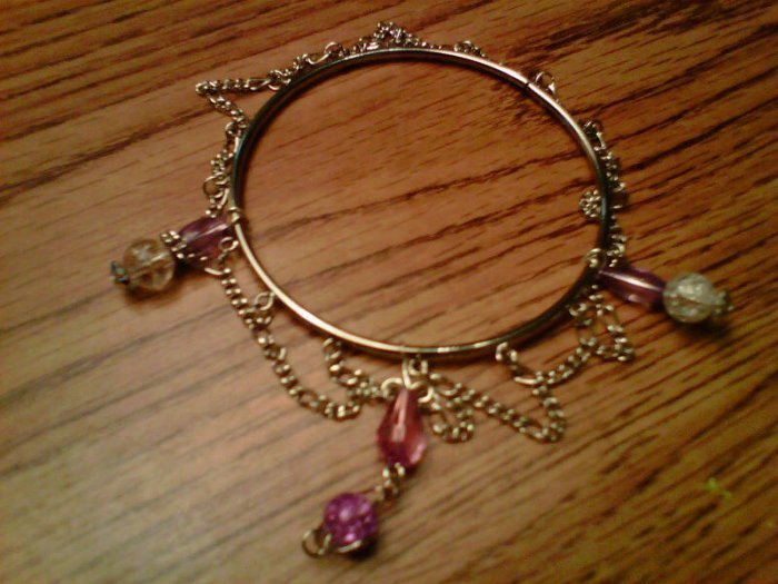 Handmade Amathyst Crystal and Glass Bracelet