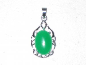 Green Jade Pendant - Oval - 18kt White Gold Plated