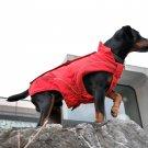 """Warm Dog Winter Coat w/ Fleece Lining, (XXL) 23-1/4"""" Red"""