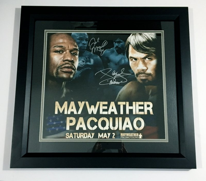 Framed Floyd Mayweather & Manny Pacquiao Autographed 16x20 Photo