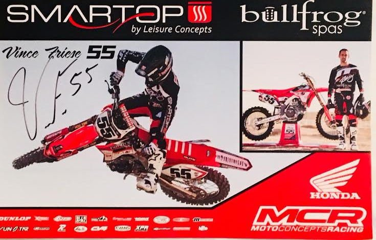 Vince Friese Supercross Autographed 11x17 Photograph