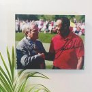 Tiger Woods & Jack Nicklaus Autographed RP 11x14 Canvas Print Wall Art