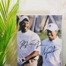 Tiger Woods & Michael Jordan Autographed RP 11x14 Canvas Print Wall Art