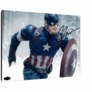 Captain America Chris Evans Facsimile Autograph 11x14 Canvas Print Wall Art