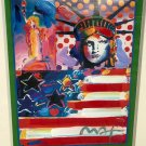 Original Peter Max Autographed God Bless America II Mixed Media