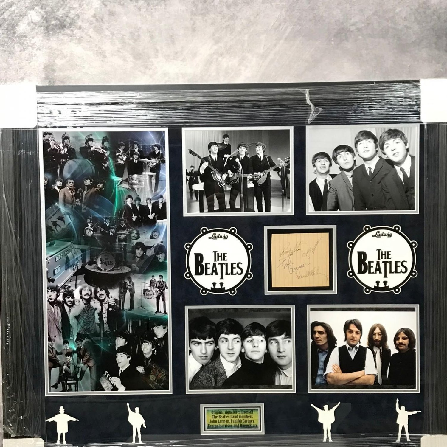 The Beatles Band Autographed 5x7 Note w/ Custom Collage Framing
