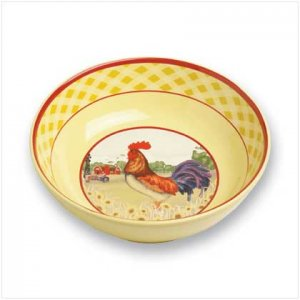 Country Rooster Serving Bowl