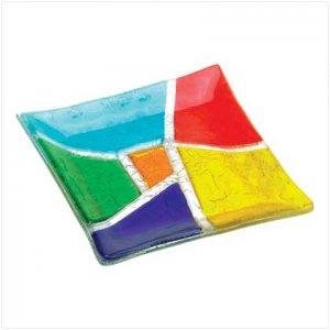 Kaleidoscope Art Glass Plate