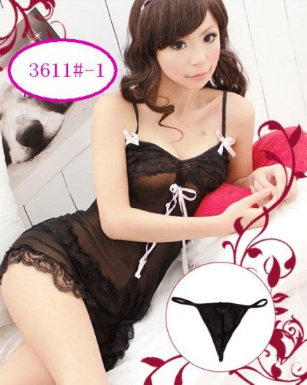 New Sexy Lingerie Babydoll Hot Lace Black Dress G-String 7