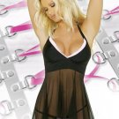 New Sexy Lingerie Babydoll Hot Lace Black Dress G-String 23