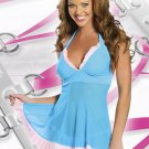 New Sexy Lingerie Babydoll Hot Lace Blue Dress G-String 23
