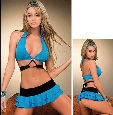New Sexy Lingerie Babydoll Corset Bustier Hot Blue Mini Dress 25
