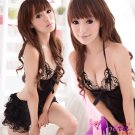 New Sexy Lingerie Babydoll Hot Lace Black Dress G-String 28