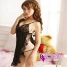 New Sexy Lingerie Babydoll Hot Lace Black Dress G-String 34