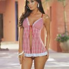 New Sexy Lingerie Babydoll Hot Lace Red Dress G-String 46