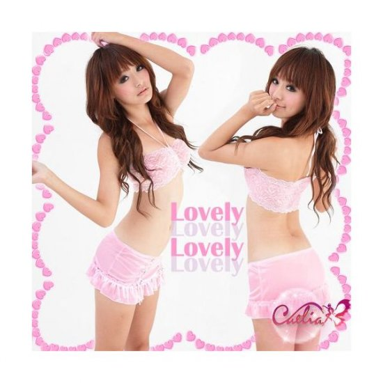 New Sexy Lingerie Babydoll Hot Lace pink Dress G-String 75