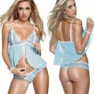 New Sexy Lingerie Babydoll Hot Lace blue Dress G-String 97 (XXL Size)