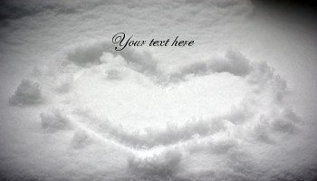 Printable cards Heart on the snow design