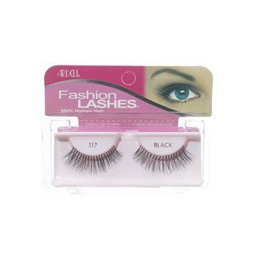 FASHION LASHES 117 BLACK MADE WITH 100% HUMAN HAIR BRAND NEW IN PACKAGING 2 PACKS + FREE ADHESIVE