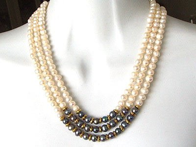 THREE STRAND PEARL NECKLACE WITH BLACK PEARLS AND GOLD ACCENTS