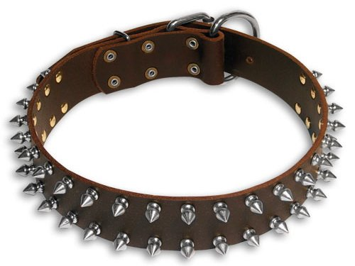Heavy Duty Leather Spiked Dog Collar Brown