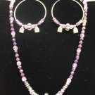 1038S Lovely purple / Lavendar crystal beads with pewter accents Necklace & Hoop Earring set.