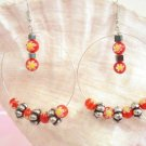 1014E  2 in. glass and antique silver bead hoop earrings